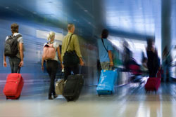 airport travelers blur